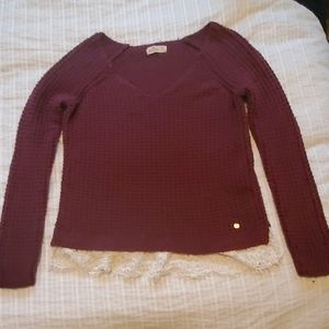 Hollister sweater burgundy with white lace trim.